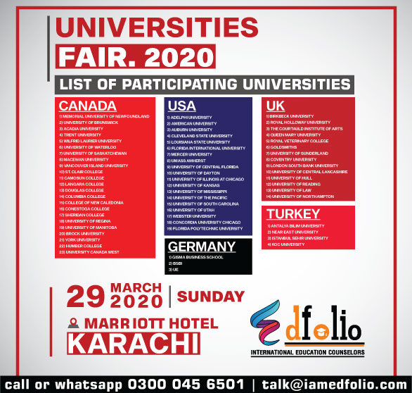 List Of Participating Universities USA, Canada, Germany, Turkey & UK Study Fair 2020